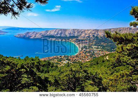 Adriatic town of Baska aerial view