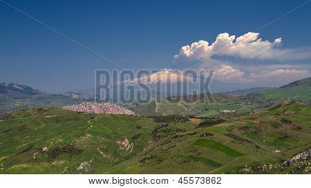 Smoking Etna As Seen From Petralia Soprana