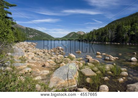A beautiful day at Jordan Pond in Acadia National Park Maine poster