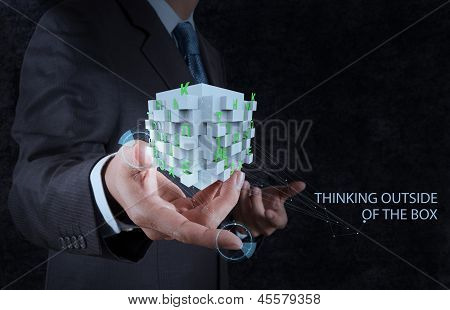 Businessman Hand Shows Word Thinking Outside The Box