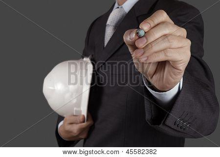 Businessman's Hand Writing on Virtual Screen