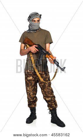 Terrorist With Automatic Gun On White Background