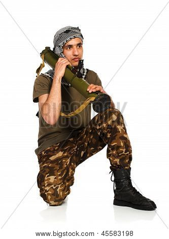 Terrorist With Launcher On White Background