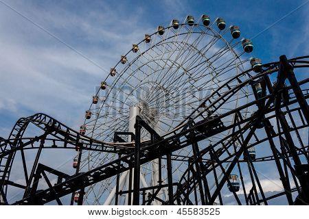 Ferris wheel and coaster