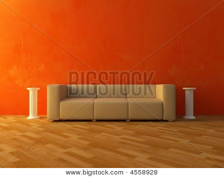 Interior - Comfortable Sofa On Red Wall