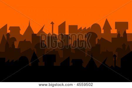 Orange Illustrated City Skyline