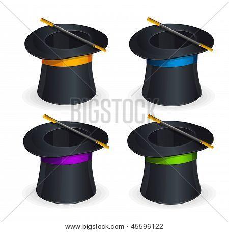 Magic hats vector set