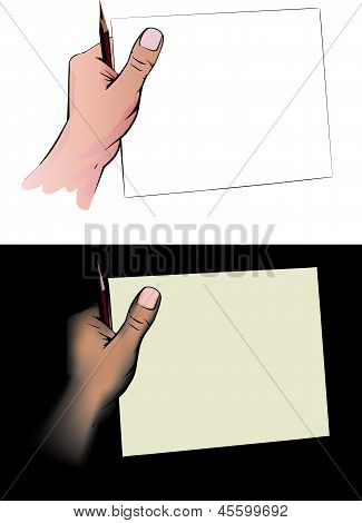 hand with a pencil holds the sheet