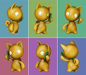 Funny kitten talking on mobile phone. 3D image poster