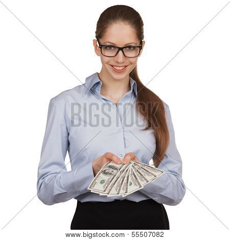 Young Woman With Hundred Dollar Bills In His Hands