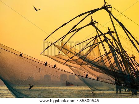 Chinese fishing net at sunrise in Cochin (Fort Kochi), Kerala, India