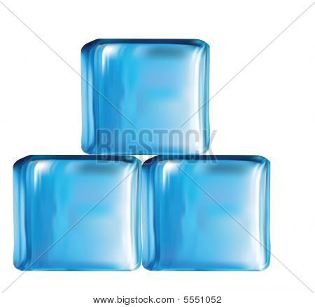 Illustration Of Modern Glass Cubes In Blue Color Vector