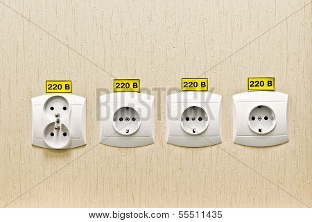 Plug Socket 220 Volt On The Wall Of The Office