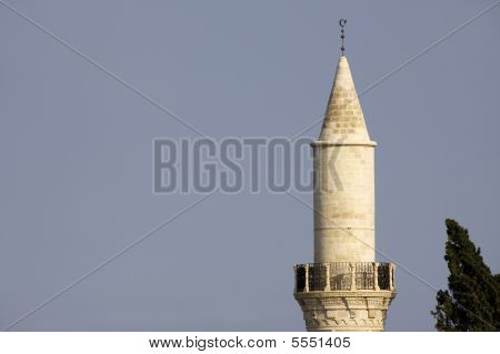 The minaret of the Grans Mosque (Djami Kebir as it is called) in Larnaca Cyprus poster