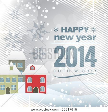 vector new year 2014 design with colorful house