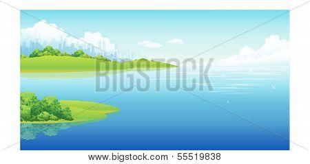 City skyline and sea