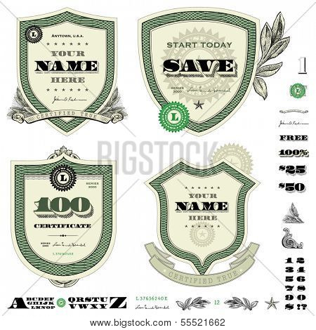 Vector money frame and badge template set. Great for financial themes, diplomas, certificates, and awards.