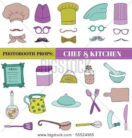 Chef and Kitchen - Photobooth Set - Glasses, hats, lips, mustache, elements - in vector