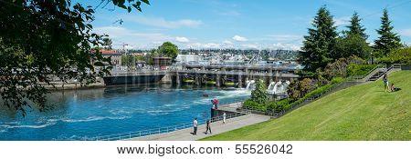 Panorama of the Hiram M. Chittenden, or Ballard, Locks, Seattle, WA