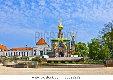 Russian orthodox church at the Mathildenhoehe in Darmstadt Germany poster