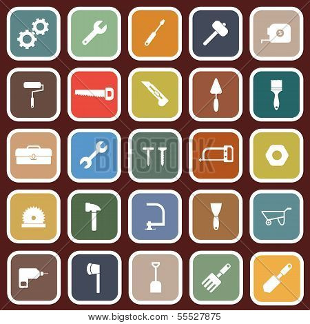 Tool Flat Icons On Red Background