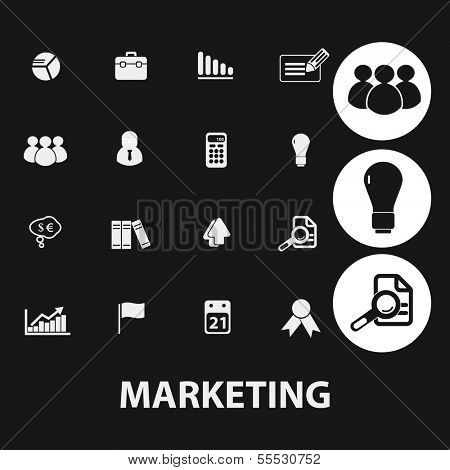 marketing, management, human resources icons set, vector