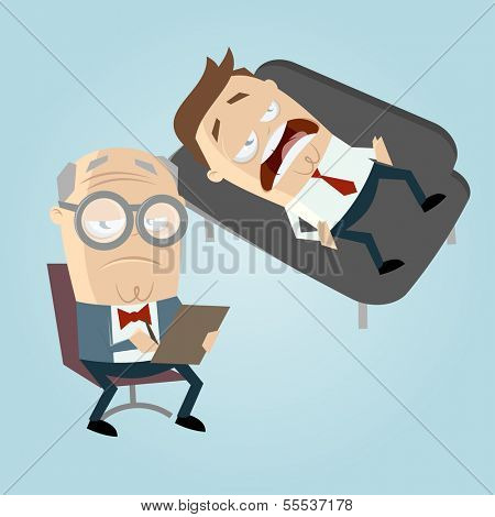 funny cartoon psychiatrist with patient on couch