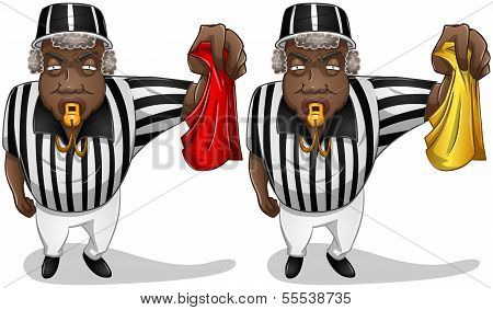 Football Referee With Flag And Whistle