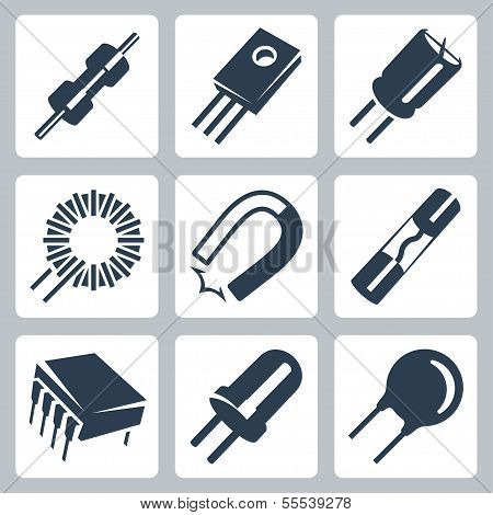 Vector electronic components icons set: resistor transistor capacitor inductance coil magnet preventer microcircuit diode varistor poster