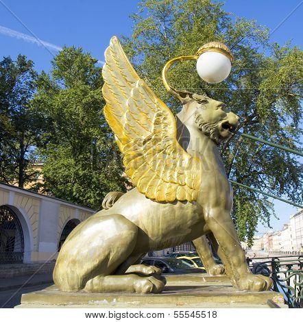 Statue Of Gryphon On Banking Bridge, St. Petersburg