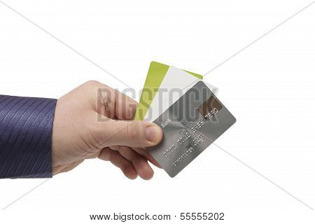 Bank Cards In A Man's Hand - Close Up