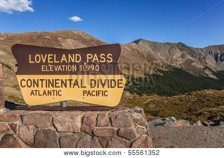 Sign At The Loveland Pass In Colorado