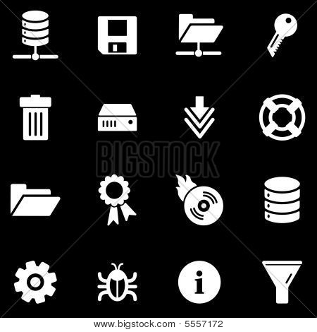 Server white web icons