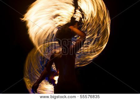 Amazing Fire Show at night on Phi Phi Island, Thailand