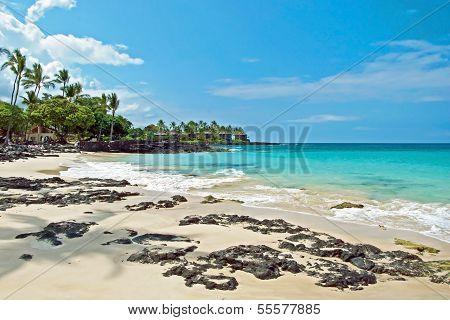 White Sand Beach On Hawaii Big Island With Azure Ocean In Background