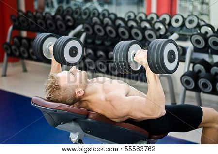 Muscular Young Man Shirtless, Training Pecs On Gym Bench