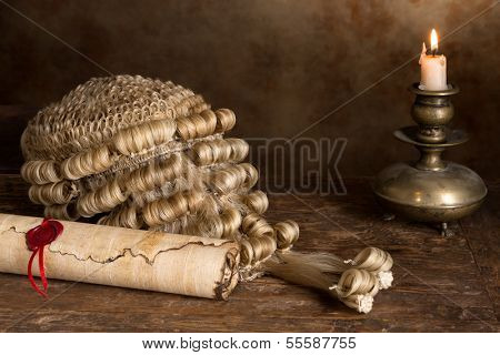 Genuine horsehair judge's wig and a sealed parchment scroll