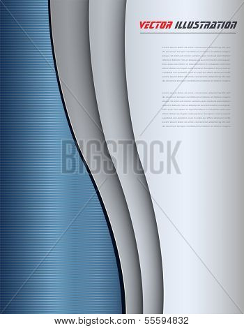 Business background blue and grey abstract waves, vector illustration.