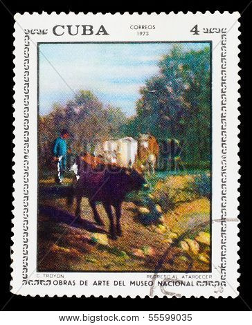 """CUBA - CIRCA 1973: stamp printed by CUBA, shows C. Troyon """"regreso al atardecer """", obras de arte del nacional museo, circa 1973 poster"""