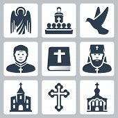 Vector Christian religion icons set over white poster