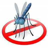 Stop mosquito sign, protect a surface where mosquito has landed poster