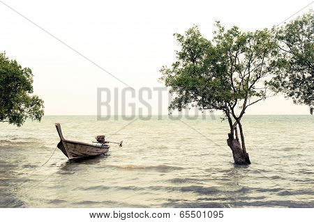 Tropical Beach View In Vintage Style. Ocean Landscape With Thai