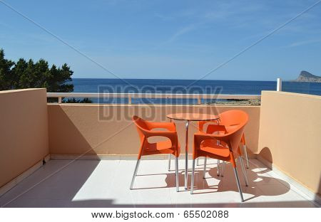 Hotel balcony with sea view