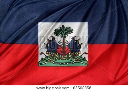 Closeup of silky Haitian flag