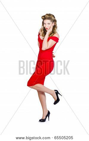 Stunning Pinup Girl In Red Rockabilly Fashion