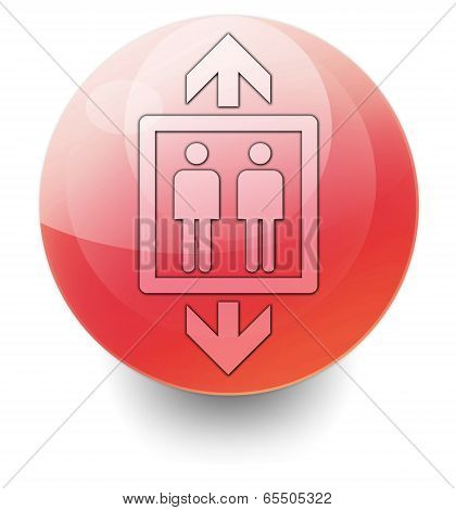 Icon Button Pictogram Illustration Image with Elevator symbol poster
