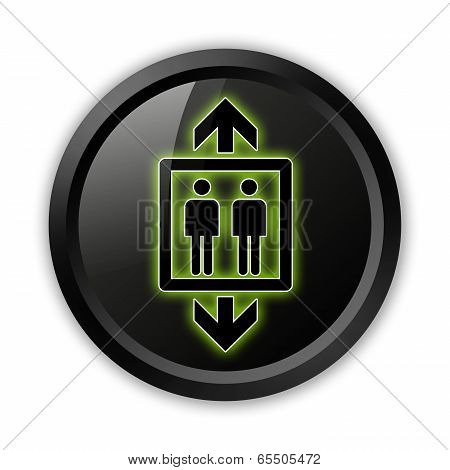 Icon Button Pictogram Image Illustration with Elevator symbol poster