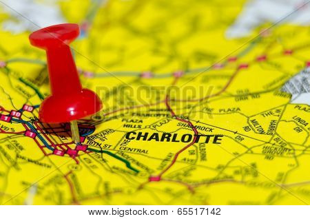 charlotte qc city pin on the map poster