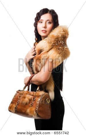 Beautiful Woman Wear Fur With Purse