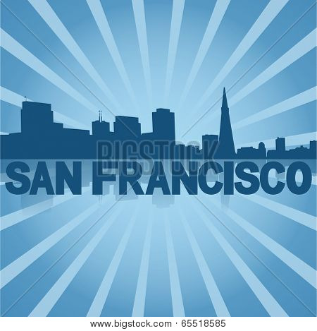 San Francisco skyline reflected with blue sunburst vector illustration